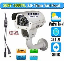 "1000TVL IR bullet Camera 9-22mm  1/3"" SONY OSD CCD Varifocal CCTV SECURITY mtlc"
