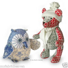 """2 x Sewing PATTERNS Jingle Bear 13"""" Christmas Teddy & Starry-Eyed Owl Soft Toys"""