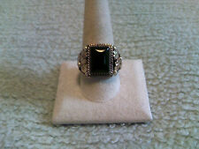 Black Onyx Rectangle Ring Sterling Silver w/GF at the Sides