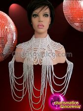 Diva Showgirl's Delicate Ribbon Tie Gothic Draped Shimmering Pearl Necklace