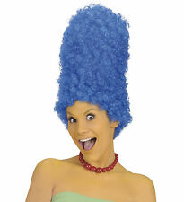 Ladies Marge Simpson Blue Wig Cartoon Tall Beehive Fancy Dress Pantomime Dame
