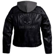 Harley Davidson Women Reflective Willie G Skull Leather Jacket 3in1 98152-09VW L