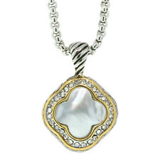 "Flower Shape Mother of Pearl Pendant with Zirconia 16"" Chain and 3"" Extension"