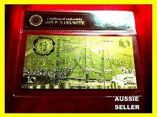$10 AUSTRALIA BICENTENIA 1988 $10 BANKNOTE UNC GOLD COMMEMORATIVE BANKOTE 24KT