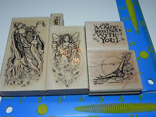 Stampin Up Magical & Mystical Stamp Set 5 (missing 1) Wizard Fairy Owl Stardust