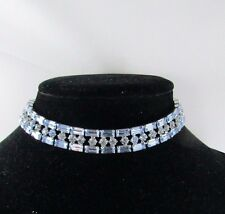 Vintage Blue Baguette Round  Rhinestone Silver Tone Choker Collar Necklace 16 ""