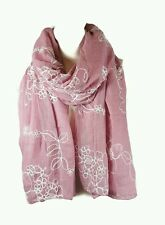 NEW Ladies Embroidered Floral Scarf Maxi Wrap Shawl Pashmina Soft Warm-DuskyPink