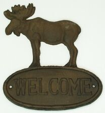 CAST IRON ( Lot of 2)  Moose Welcome Sign Plaque Wall Mount  Lodge