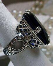 Big 30ct *Sapphire* Art Deco 1930s Repro Sterling Silver Filigree Ring Size 9