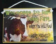 Country Printed Quality Wooden Sign & Hanger  *Funny Farm Cow*  timber plaque