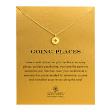 "Dogeared Going Places Compass Disc Gold Dipped Reminder 16"" Boxed Necklace"