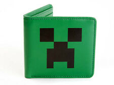 Official Licensed Minecraft Creeper Face Green Leather Bi-fold Men's Wallet NEW