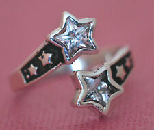 Adjustable STARS WITH C.Z. Ring All Genuine Sterling Silver.925 Stamped Size 11