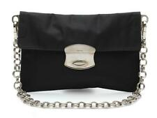 Prada Black Textile & Silver Chain Strap Shoulder Bag