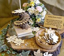50 PC Memory Sculpture Wedding Guest Book Alternative Natural Finish Fall Leaves