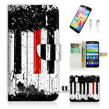 Samsung Galaxy S5 Print Flip Wallet Case Cover! Piano Keyboard P0297