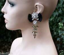 "3.75"" Long Clear & Light Brown Rhinestones Earrings, Black Ribbon Bridal,Pageant"