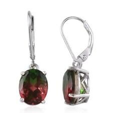 5.75ct Watermelon Tourmaline Quartz Earrings in Platinum OL 925 Sterling Silver
