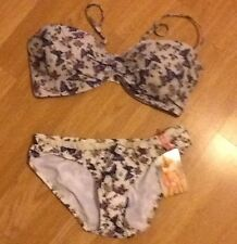 GERI BY NEXT BUTTERFLY BIKINI TOP 34E/F & 8 BOTTOMS BNWT