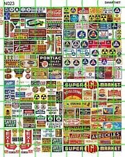N023 DAVE'S DECAL MIXED ADVERTISING SIGNAGE IGA FALLOUT SHELTER TELEPHONE SIGNS