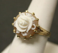 Antique Estate 10K Yellow Gold Round Flower Carved Cameo Ring! WOW!