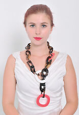 CHUNKY FASHION LONG CHAIN DESIGNER DUNCAN BUFFALO HORN NECKLACE JEWELRY HANDMADE