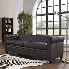 Brown Sofa Upholstered Faux Leather Tufted Design Couch Classic Chesterfield