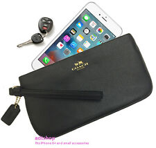 NWT Coach Crossgrain Leather Wristlet Wallet 65555 BLACK fits iPhone 6+ Handy!