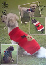 "King Cole Christmas DK Knitting pattern Dog coats Xmas Santa Snowman 12-33"" 4115"