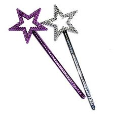 12 Fairy Star Wands Pink Silver Princess toy Party Bag Filler Birthday girl gift