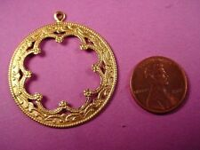 4 brass round moorish Arabian style open cut out charms drops pendants scalloped