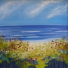 Summer Beach : original painting, seascape, flowers, contemporary