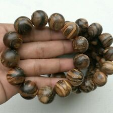 BEAUTY!!! 18 MM Gaharu Zebra Root Wood Bracelet 13 Beads Aloeswood