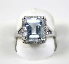 Fine Huge Radiant Aquamarine Lady's Ring w/Diamond Halo 14k White Gold 5.55Ct