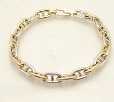 """8.5"""" Mens Puffed Gucci Mariner Bracelet Real 14K Yellow White Two-Tone Gold"""