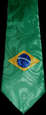BRAZIL FLAG NECKTIE NEW TIE  COUNTRY BRAZILIAN FOOTBALL WORLD CUP RIO SOCCER