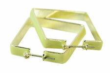 CUTE GIRLY SILVER / LIME GREEN SQUARE FUNKY FASHION STATEMENT EARRINGS (ZX1)