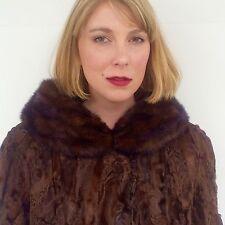 Authentic Fur Coat Women's large | Persian Lamb & Mink | Brown Chocolate
