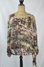 Chico's - Green-brown SILK blend velvet TEXTURED semi-sheer blouse, size 1