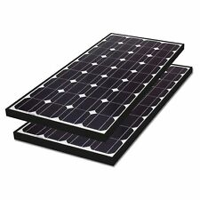 2 x Biard 100W Black Frame Solar Panel 12V Battery Charging Motorhome Caravan