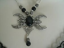 Goldstone Triple Moon Goddess Necklace, wiccan pagan wicca witch witchcraft