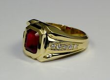 Men's 14k Yellow Gold Emerald Cut Red Ruby And White Round Diamond Ring Size 8.5