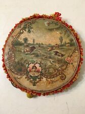 Antique Child's Toy Tambourine With Lithograph Pastoral Decorations