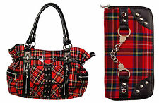 Banned Red Tartan HANDBAG & WALLET Gift SET Shoulder School Bag A4 Rockabilly