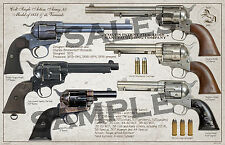 Colt SAA . 45 Model of 1873 Variants Poster 11 x 17