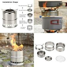 Outdoor Stove Camping Cooking Picnic BBQ Steel Wood Burner Alcohol Cooker W9F1