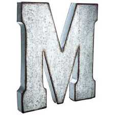 "Large 20"" Silver Galvanized Vintage Metal Letter & Marquee ""M"". Monogram."