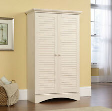 Storage Cabinet Kitchen Pantry Tall Wood Utility Cupboard Cottage Style White