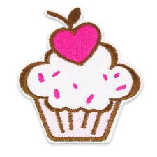 Heart Cherry Cupcake Iron-On/ Sew-On Patch Embroidery Motif