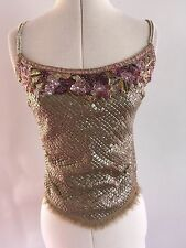 Karen Millen Gold Sequinned Beaded Strappy Frayed Top Size 8
